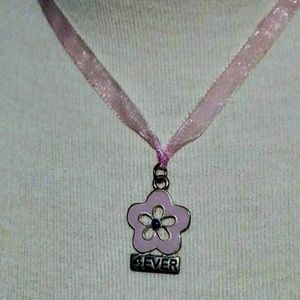 Other - 4ever pink enamel flower on ribbon necklace NWT